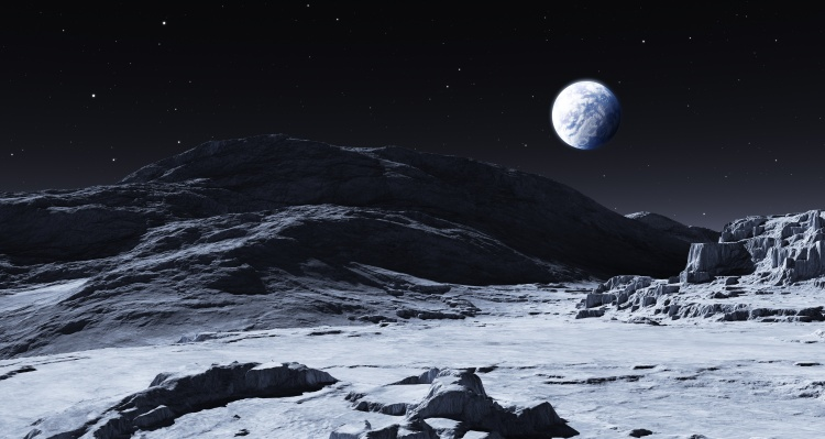 Earth rising from the surface of the moon