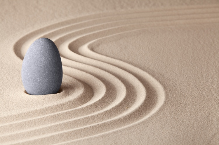 Simplicity and serenity in Japanese zen garden concept for balance and concentration.