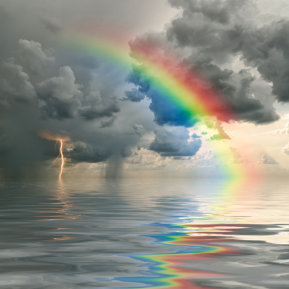Hope Amidst Despair Illustrated by Stormy Sky and Rainbow