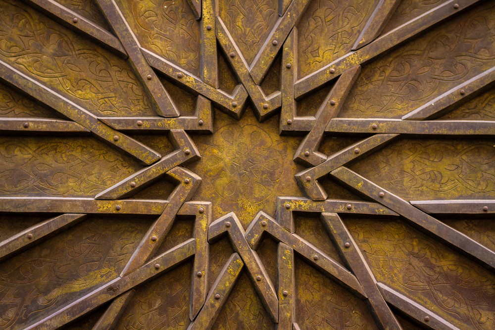 Elaborate Wood Door With Intricate Star Shape Pattern