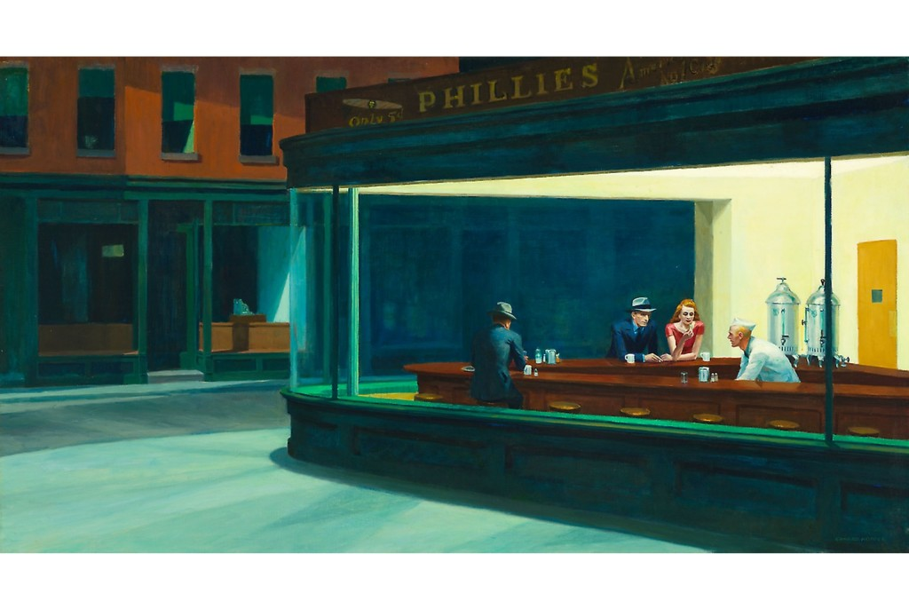 Edward Hopper, Nighthawks, Oil painting, Americana,