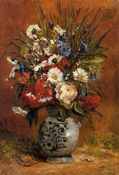 "This is a truly beautiful painting. ""Daisies and Peonies in Blue Vase"" by Paul Gauguin."