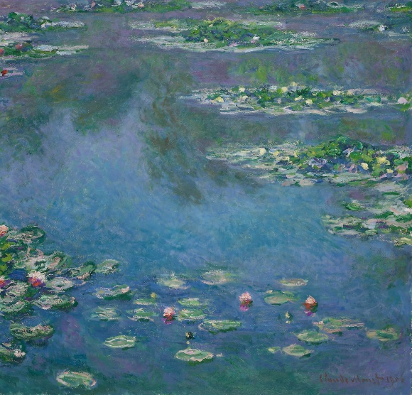 Painting by Claude Monet from his famous water-lilies series. Monet painted about 250 water-lily studies from his garden during the last thirty years of his life.