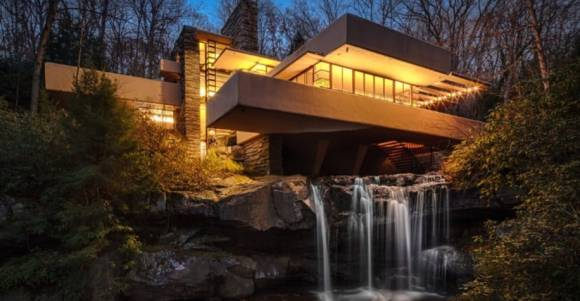 Frank Lloyd Wright's 1935 Falling Water House at Twilight